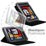 Plushwear Lightweight Leather 2-in-1 Case Cover for Amazon Kindle FIRE with Versatile Multi-Angle & 360 Rotatable Stand - Kit Also Includes Capacitive Stylus Pen & Screen Protector - IB-KINFIRE-CS (Jet Black)