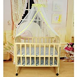 Topluck Baby Mosquito Net Baby Toddler Bed Crib Canopy Netting White Babe Dome Simple Hanging Mosquito Nets (Yellow)