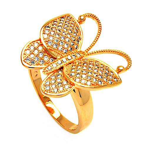 Rose Gold Plated Sterling Silver 21mm High Polish Micro Pave Cubic Zirconia Butterfly Fashion Ring Band (Sizes 5 to 9) - Size 5