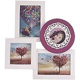 EZ Life 4 Photos Wall Photo Frame - Lace Circle - Enchanting White & Purple- PVC (35 Cm X 30 Cm X 2.5 Cm, Ivory)