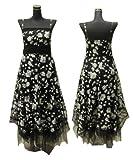 【花柄】フラワープリントゴージャスロングドレス☆コサージュ・リボン付き☆ブラック