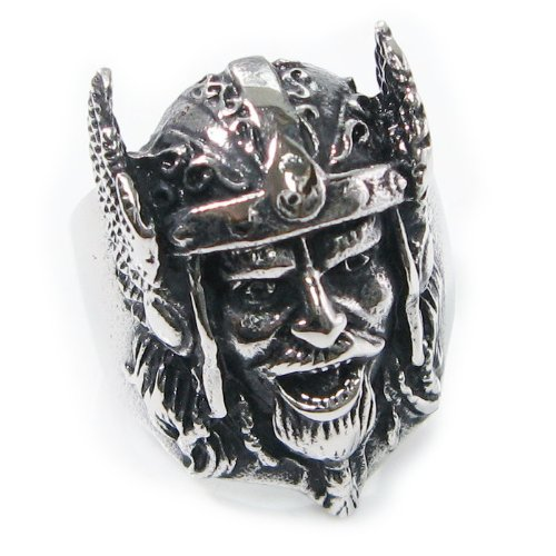 Stainless Steel Ancient Army Helmet General Men Biker Ring Size 12