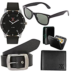 Lime combo of watch with wallet belt sunglass and cardholder