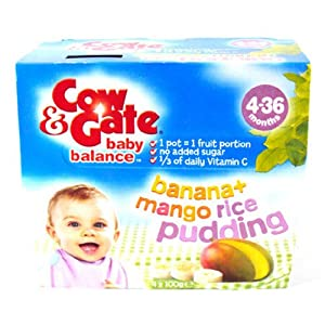 Cow & Gate 4 Month Balance Banana & Mango Rice Pudding 4 Pack 400g