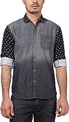 Locomotive Men's Casual Shirt (15110001455761_LMSH010355_Small_Black Denim)
