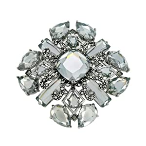 Sterling Silver Marcasite Multi Shape Clear Glass Pin