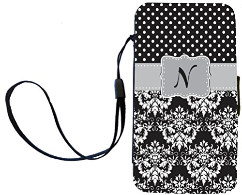 "Rikki Knighttm Rikki Knight Initial ""N"" Grey Black Damask Dots Monogrammed Galaxy S4 Pu Leather Wallet Type Flip Case With Magnetic Flap And Wristlet For Samsung Galaxy S4 I9500 front-645557"