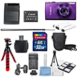 Canon PowerShot ELPH 360 HS (Purple)12x Optical Zoom - Built-In Wi-Fi with Deluxe Starter Kit Including 32GB SDHC Flexible Tripod + AC/DC Turbo Travel Charger + Extra battery + Protective Camera Case