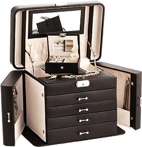 Extra Large impératrice Boîte à bijoux / Noir / beige cuir reconstitué Jewel Case par Mele & Co