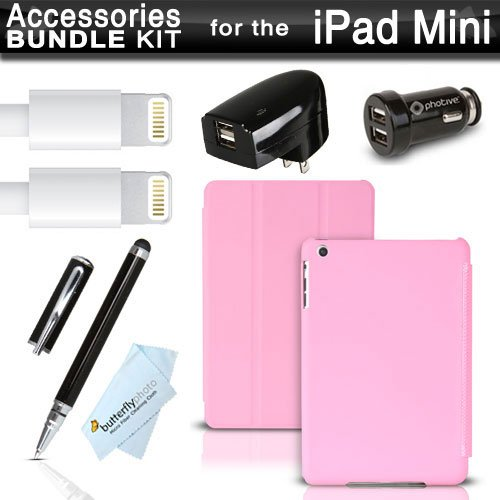 Slim Ipad Mini Case + Charger Accessories Bundle Includes Slimpad - Ultra Slim Smart Cover Case Front / Back Protection (Activates Sleep/Wake) - Pink + 2Pk 8 Pin Lightning Usb Data / Sync Charge Cable + 2.0 Amp Dual Usb Rapid Home + Car Charger + More