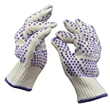 Heat Resistant Cooking Gloves - Set of 2 Grill Gloves Insulated By Nomex & Kevlar Fibers with 100% Cotton Lining - Purple Hexagons Silicone Flexi-grip - One Size Fits All.