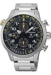 Seiko Solar Chronograph SS Black Dial Men's Watch SSC369