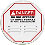 "Accuform Signs KDD718 STOPOUT Vinyl Steering Wheel Message Cover, ANSI-Style Legend ""DANGER DO NOT OPERATE OR MOVE VEHICLE - THIS VEHICLE IS BEING SERVICED BY:"", 16"" Diameter, Red/Black on White"