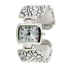 Geneva Platinum Women's Textured Cuff Watch-Silver