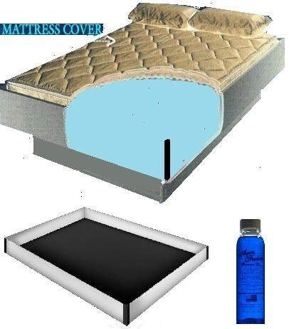 Queen Size 60X84 2000 Zipper Waterbed Mattress Cover W/ 12 Mil Pro Max Water Bed Safety Liner & 4Oz Premium Clear Bottle Conditioner front-352244