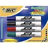 Marcadores BIC Great Erase Bold, con punta de cincel y tanque de tinta de secado rápido, paquete de 4 marcadores