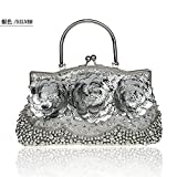 2016 New Womens Beading Evening Bags Elegant Ladies Handbags Sequined Party Wedding Purses Handmade Flowers Day Clutches (Sliver)