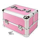 TecTake Mallette coffrets boîte à maquillage bijoux et cosmétique beauty case ROSE