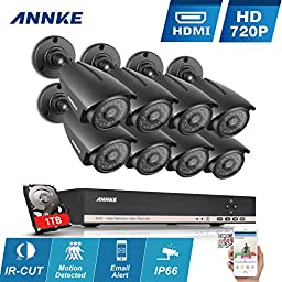 [1280*960 HD] Annke 8CH 1080N DVR 1080P NVR Hybrid Recorder & 1TB Hard Drive + 8x HD 1.3Mega-Pixels Outdoor Fixed CCTV Security Cameras ( P2P Technology, Motion Detection & Alarm Push, Weather-Proof Metal Housing)