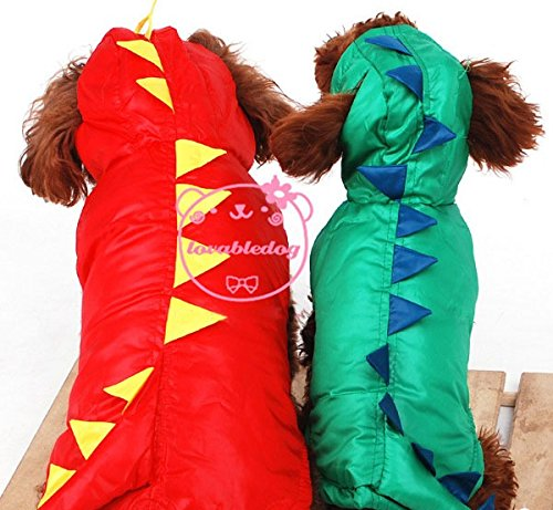 Esingyo Pet Cat Dog Clothes Dinosaur Winter Coat Jacket Hooide Halloween Dog Costume Green Xl