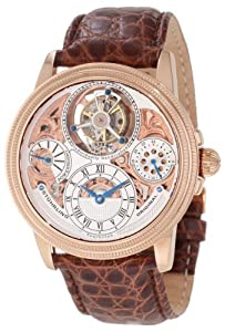 Stuhrling Original Men's 213T.334XK2 Tourbillon Limited Edition Saturnalia Tourbillon Mechanical Power Reserve Indicator Rose Tone Watch