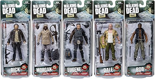 McFarlane The Walking Dead Morgan Jones, Dale Horvath, Bob Stookey, Rick Grimes and Eugene Porter TV Series 8 Action Figures Set of 5