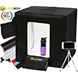 LITEBOX Product Photography Photo Studio Kit in a Box Premium Background Sweep Colors Daylight LED Lighting with Tripod & Travel Bag - Large 24