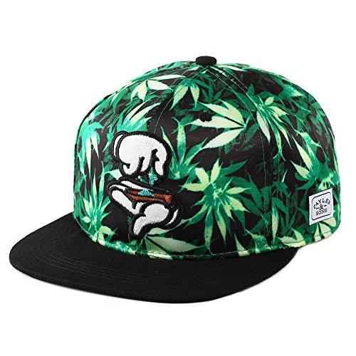 Yingrui-Embroidery-Mens-Bboy-Brim-Marijuana-Baseball-Cap-Snapback-Hip-hop-Hat-Green
