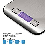 Vont 11/5kg Digital Stainless Steel Kitchen Scale, Multifunction Food Scale, Tare Function, Modern Design, Compact & Portable, 4 Different Measurement Units, Batteries Included