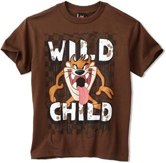 Warner Bros. Big Boys' Wild Child Looney Tunes Youth Shirt, Chocolate, Medium