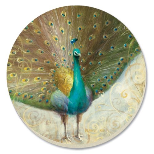 CounterArt Decorative Absorbent Coasters, Teal Peacock, Set of 4