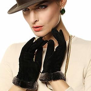 Warmen Lady Geniune Pigskin Suede Leather Winter Warm Gloves Long Fleece Lining (M, Black)