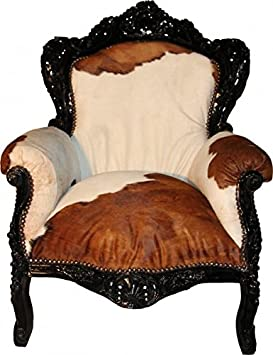 Casa Padrino Baroque armchair King Cow / Black - Genuine Cowhide