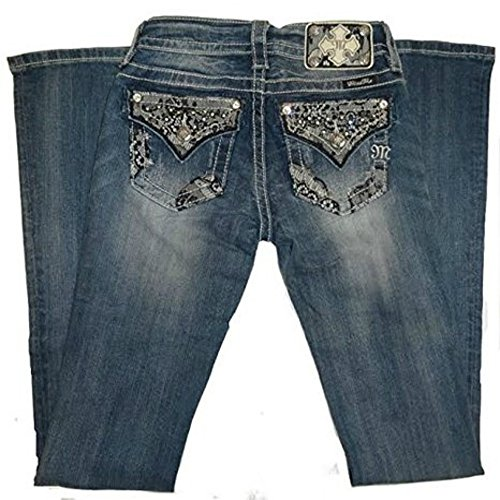 Miss Me Juniors' Embellished Lace Overlay Pocket Jeans Extended Sizes Denim 27