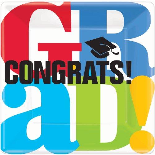 "10"" Bravo Grad Congrats! Square Dinner Plates (18 Ct) Graduation Party Supplies"