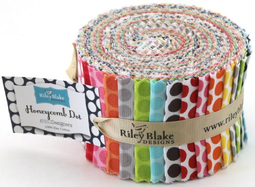 Riley Blake BASICS HONEYCOMB DOT Rolie Polie 26 2.5 inch Jelly Roll Strips Quilt Fabric RP-680-26