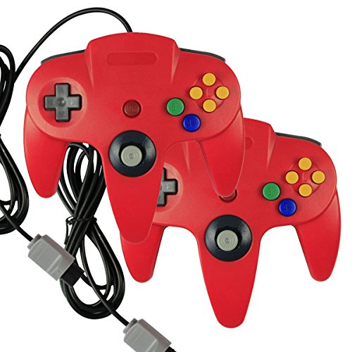 2-x-game-gaming-pad-console-controllers-for-nintendo-64-n64-red-red