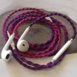 Earbuds w/mic DEEP & RICH FUCHSIA & PURPLE Tangle Free, Hand Wrapped Headphones Made for Apple iPhone 5, 5c, 5s, iPad, iPod, EarPods, Headphones