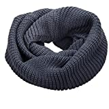 NEOSAN Womens Thick Ribbed Knit Winter Infinity Circle Loop Scarf Dark Grey