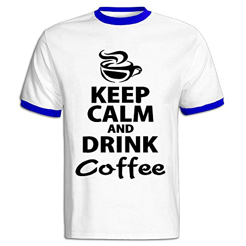 Youqian Drink Coffee Keep Calm Men's T-Shirt Large RoyalBlue Mens (Zojirushi Coffee Grinder compare prices)