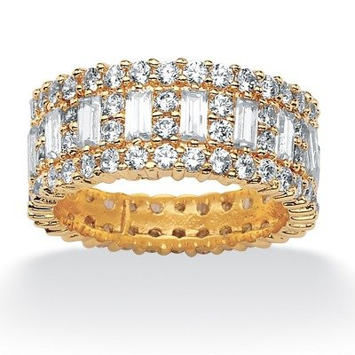 Gold Plated Cubic Zirconia Eternity Band Size: 10