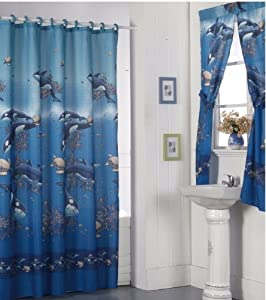 Orca Whale Bathroom Shower Curtain With Matching Rings And Window Curtain Set