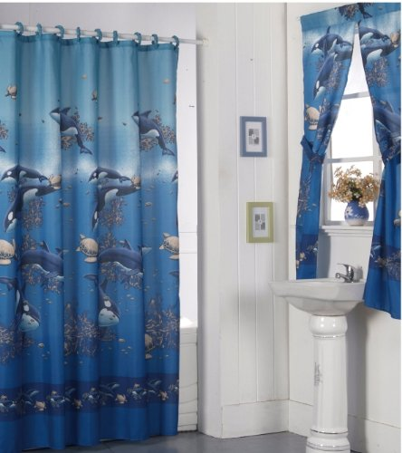 Orca whale bathroom shower curtain with matching rings and for Matching bathroom sets