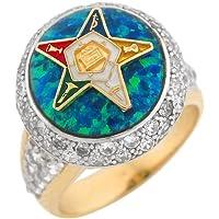 14k Gold CZ Synthetic Blue Green Opal Enamel Eastern Star Ladies Ring