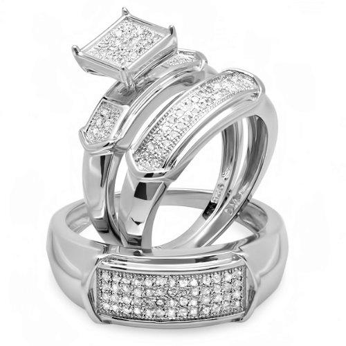 0.75 Carat (ctw) Sterling Silver Round White Diamond Men & Womens Micro Pave Engagement Ring Trio Bridal Set