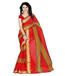 Sanju Elegant Red Color Cotton Silk Saree
