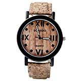 Top Plaza Women's Vintage Cork Pattern Roman Numerals Dial Cork Line Strap Watch, Wood Tone
