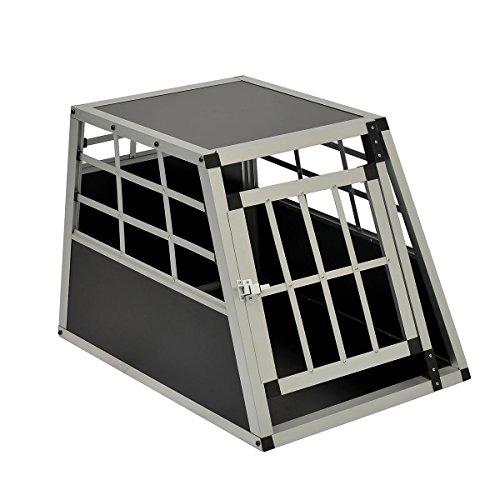 Hundetransportbox-Hundebox-Reisebox-Gitterbox-Alubox-Autotransportbox-Schwarz-69x54x50-cm-T-x-B-x-H-LZ0201-0103BK