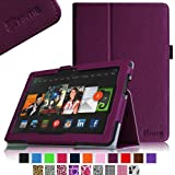 Fintie Slim Fit Leather Cover Folio Case Cover for 8.9 inch Amazon Kindle Fire HDX - Purple