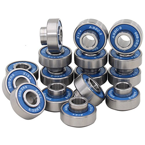 608-2RS Skateboard Bearings and Longboard Bearings. Built In Spacers and Bearings Speed washers or Bearings Speed Rings - (Pack-16). (Longboard Bearing Spacers compare prices)